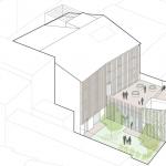 Disegno del cortile interno con rappresentazione degli spazi