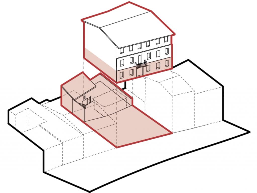 Disegno che rappresenta l'immobile che sarà oggetto dell'intervento edilizio